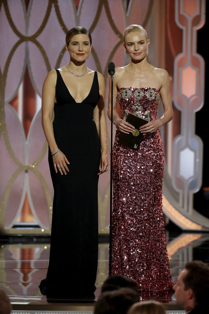 Bush and Bosworth present at the 73rd Golden Globe Awards in Beverly Hills, California